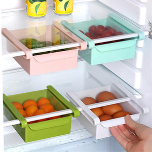 Plastic Kitchen Shelf Household Refrigerator Storage Holders Drawer Storage Rack Space Saving Drain Rack 4 Colors HWF5103