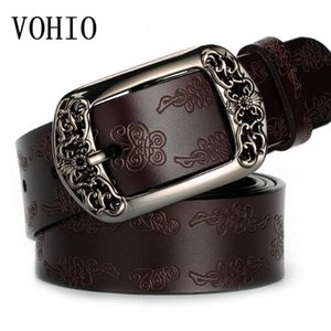 Vohio 100٪ جلد البقر النقي حزام فراشة زهرة حزام الرجعية السيدات دبوس مشبك حزام واسعة الأزياء الترفيه الإناث الديكور Q0624