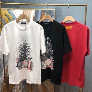 Sommer luxus männer bestickt t-shirt kurzärmelig hochwertiger rundhals baumwollstoff t-shirt männer kurzärmelig