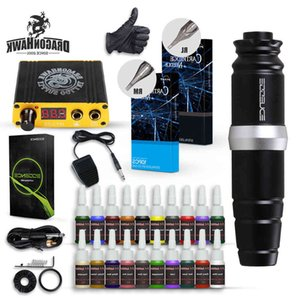 Dragonhawk Tattoo Kit Rotary Motor Pen Machine Cartridges Needles Inks Mini Power Supply D3035