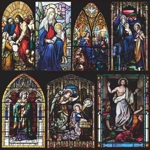 Пользовательские размеры окна фильма статическая пленка классическая церковь потолочный стеклянный стеклянный светлый подглядывание предотвратить непрозрачное стекло 40cmx60cm