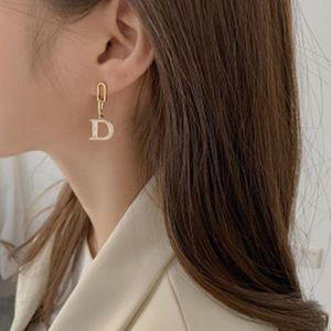 Dangle & Chandelier Origin Summer Temperament Asymmetric Letter D Earring For Women Gold Color Metal Rhinestone Chunky Chain Jewelry