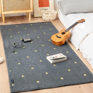 Carpets Large Cotton Quilted Carpet For Living Room Anti Slip Bedroom Bedside Floor Mat Star Jacquard Rugs Kids Play