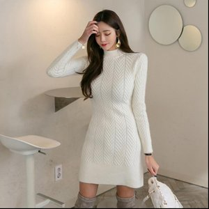 2021 new French self cultivation bag hip high collar long sleeved womens bottom sweater knit dress Drop Shipping