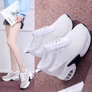Leisure Sports and Single Shoes Women's Hollow Out Breathable Lace Up Round Head Air Cushion Slope Heel Thick Bottom Mesh I7NK