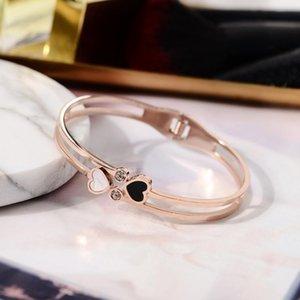Moda doppio amore pesco cuore strass fascino braccialetto di alta qualità gioielli donne nero bianco regalo regolabile