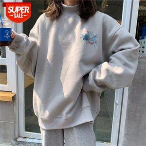 Oversized Velvet Warm Hoodies Women's clothes tops harajuku Printed Turtleneck Kawaii Simple Pullover Korean Style sweatshirt #XE1t