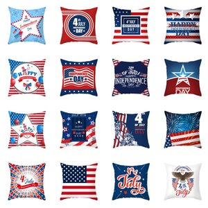 Patriotic Independence Day Cushion Cover 45x45cm USA National Flag Printed Eco-friendly Peach Skin Pillow Case 40 Styles