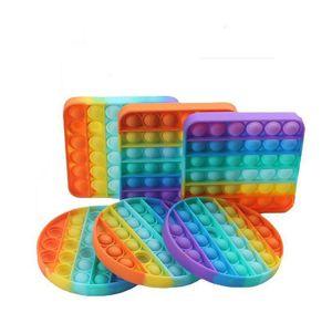 Rainbow Push Pop Bubble Sensory Fidget Toy Autism Special Needs Stress Reliever It Squeeze Sensory Toy for Kids Family Friends 300pcs L007
