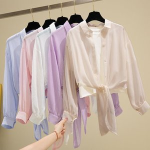 Summer Womens Tops And Blouses Long Sleeve Top 2021 Chiffon Shirt Turn Down Collar Solid Sunscreen Cardigan Office Blouse