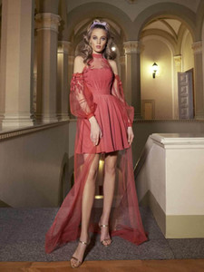 Popular 2021 Short A Line Prom Dresses Long Sleeves Off Shoulder Appliques High Low Special Occasion Dress Homecoming Cocktail Party Gowns