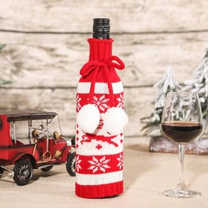 Storage Bags Christmas Decorations Red Wine Bag Cover Glass Bottle Organizers Knitted Dining Table Festival Party Home Decoration