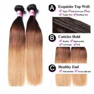 TKWIG Company 3 bundles straight hair with closure 100 ombre virgin human hair unice hair sample