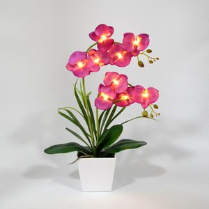 Free Shipping LED Blossom Orchid Flower Light 9 PCs Warm White LED  Lighted Flowers with Battery pot Orchid Flower Bonsai
