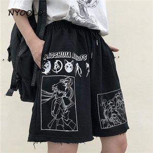 Nyoolo Streetwear Streetwear Bande dessinée Bande dessinée Sailor Moon lettres Imprimer High Casual Casual Taille élastique