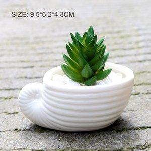 6pcs set Mini White Small planter Flowerpot shell Shape Ceramic Succulent Plant Pot Holder Fairy Garden Cactus Flower