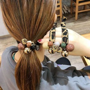 Ins net red headband accessories Korean leopard pattern leather band drill ball rope South Korea East Gate same style hair
