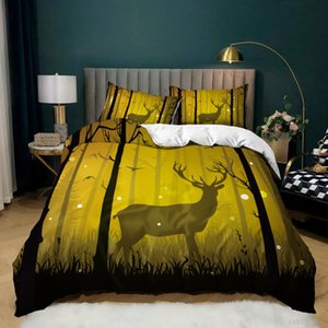 Bedding Sets Duvet Cover Deer Forest Scenery Twin King Queen Size For Home Euro Us 3D Print Creativity