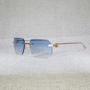 Outlet OFF 70% Vintage Randloze Vierkante Zonnebril Mannen Oculos Nieuwe Lens Vorm Schaduw Metalen Frame Clear Leesbril Gafas Vrouwen Out