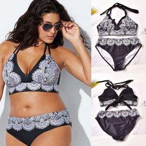 2020 Nuevas mujeres más 2 piezas Bikinis Set Swimwear Push-Up Pushing Bathing Traje XL-5XL Tamaño de gran tamaño Bikini Bikini