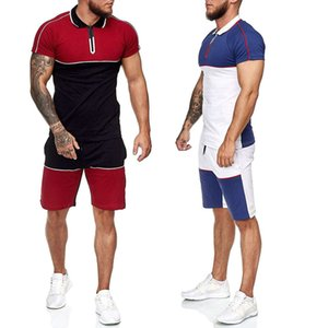 Mens Sweat Suits 2 Piece Outfit Tracksuit Sport Sets Man Patchwork Short Sleeve T Shirt + Pants Summer Casual Fitness Sportwear