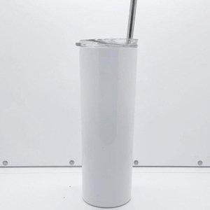 Amazon hot selling custom 20oz sublimation skinny tumbler 20 oz blank white stainless steel vacuum coffee mug with lid straws