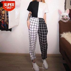 black white Sport Pants Elasticity Sportpants Top summer Contrast Cargo Pant For Women Loose Hight Waist Plaid Jogging Trouser #YL0F