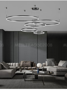 Modern Black Ring Combination Chandelier Simple Creative Personality Pendant Lamps Lights Fixtures Lighting for Living Room Villas Bedroom