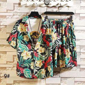 Printed Beach Shirts Short Sleeve Men Summer Sets Tracksuits Stand Collars Streetwar Tops Tees+Shorts Fashion Mens Set