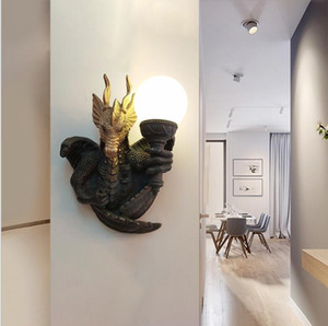 Dragon wall lamp hotel guest room corridor corridor resin led wall lamp dragon animal wall lamp simple modern