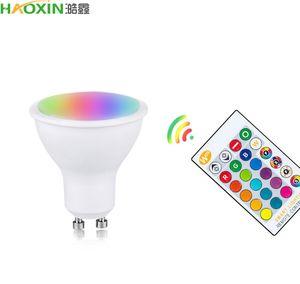 HaoXin GU10 LED Lamp RGB 10W RGBW RGBWW GU10 Led Spots Light 85-265V RGB Lamp Bombillas Led GU 10 16 Colors With Remote Control