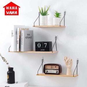Простая железная деревянная декоративная настенная полка для хранения стойки для кухни / комнаты для детей DIY держатель для украшения стены дома Decor T200822