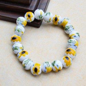 Novos artesanais cerâmicos girassóis frisados pulseiras pastels ornamentos de relógio de sol étnico vintage margarida strand jóias drop frete