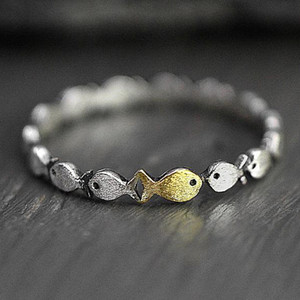 European American Fashion Silver Gold Tone Simple Fish Ring Cute Double Color Stackable Animal Finger Ring Girl Women Jewelry Gifts