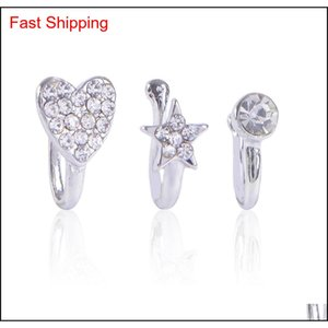 Clip On Nose Ring Piercing Jewelry Fashion Body Jewelry Diamond-shaped Heart-shaped New Nose, Non-porou qylTjn bdefashion