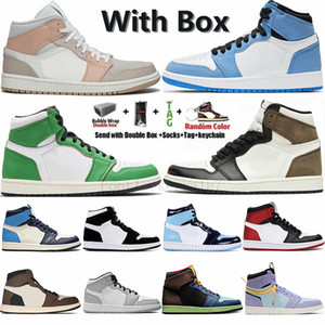 With Box 36-47 1 Jumpman 1s UNC Mid Milano Tie Dye rabbia verde Pherspective Travis Scotts Alto Basso Parigi 1s Mens Basketball Shoes Sport Sneakers