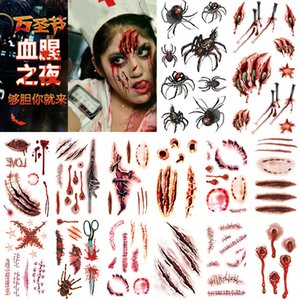 Exclusive for Cross-Border Halloween Tattoo Sticker Halloween Set Scar Halloween Masquerade Tattoo