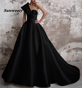 Vestidos De Gala Satin Prom Dresses Long 2021 Black Formal Dresses One Shoulder Ball Gown Abiye Gece Elbisesi