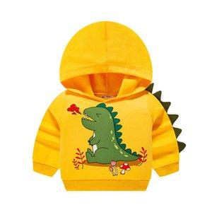 Boys Autumn Hoodies Baby Kids Hooded Sweatshirts Cute Dinosaur Pattern Hoody Tops for Children G0917