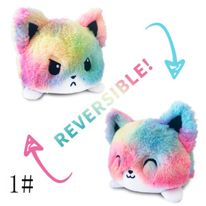 Reversible Cat Kids Plushie Pulpo Reversible Plush Animals Unicorn Double-Sided Flip Cartoon Doll Cute Pulpos Toys 0018