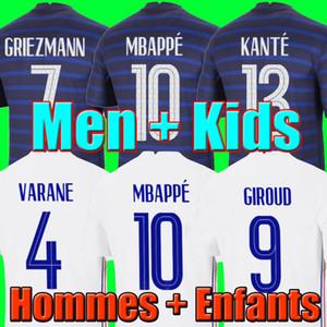 Maillots de Fútbol 2020 2021 MBAPPE Griezmann Pogba 20 21 Jersey de fútbol Maillot de Foot Fekir Pavard Football Kit T Shirt Hommes Enfants