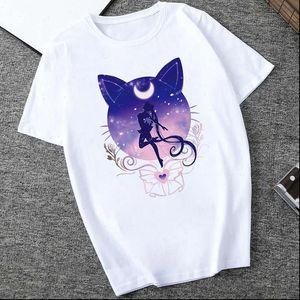 WviOce Harajuku Sailor Moon Tshirt Dibujos animados gato impreso para mujer T Shirt 90s Harajuku T Shirt Hip Hop Women Shirts Camisa de verano