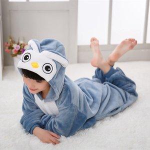 Erkek Kız Çocuk Baykuş Kuş Mavi Pijama Set Flanel Çocuklar Hayvan Karikatür Cosplay Kapşonlu Pijama Infantil Kigurumi Pijama C1116