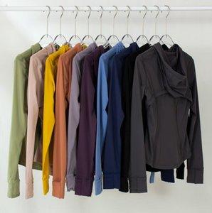 Yoga Куртки носят ЛулуОпределить с капюшоном женские дизайнеры спортивные куртки пальто с двусторонним шлифовальным фитнесом