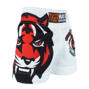 MMA branco tigre muay thai boxing fósforo sanda treinamento lutador shorts muay thai roupas boxe shorts mma muay thai roupas c0222