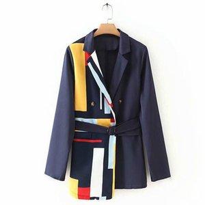 السترة المرأة سترة الكورية المرقعة المشارب طباعة طويلة الأكمام أبلى ربيع الخريف الملابس الشارع الشهير السيدات مكتب البدلة معطف
