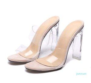 Boyutu 35 ila 42 Kutusu ile Moda Temizle Çıplak Topuklu Topuklu Katmanlı Kayma Kadın Tasarımcı Sandalet Şeffaf Kristal Ayakkabı
