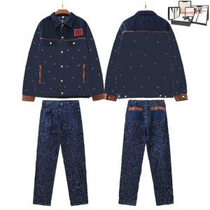 Casual Mens Tracksuits Fashion Letter Prett Jean Sets Hip Hop Cowboy Chaqueta + Jeans Trajes de dos piezas Classics Botton Button Traje