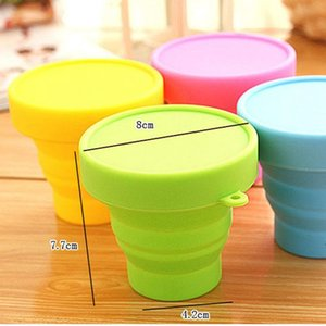 Folding Cups 170ml Food Grade Water Cups Gargle Travel Silicone Retractable Coloured Portable Outdoor Coffee Handcup BWF5088