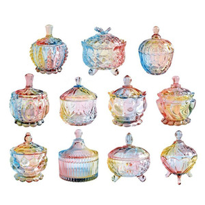 European storage jar colorful glass candy jar jewelry jam snack small sundry storage sugar platters trays dishes BWd5135